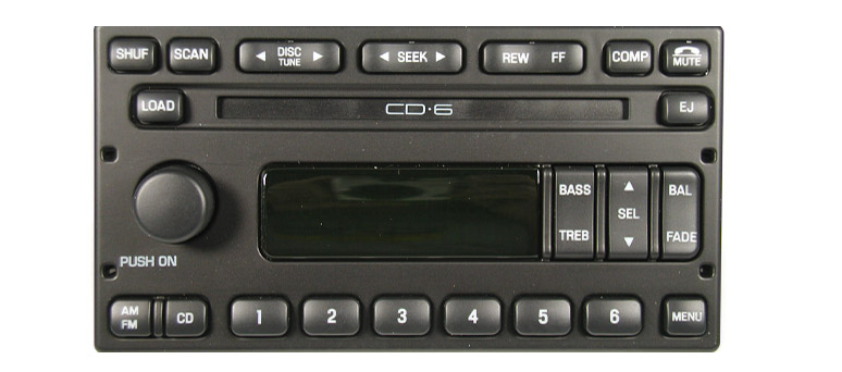 Ford 1998-2008 CD6 radio w/ Sub plug (side clip mount)