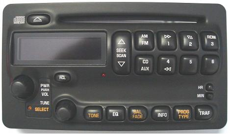Pontiac Bonneville/Vibe CD radio face (black buttons)